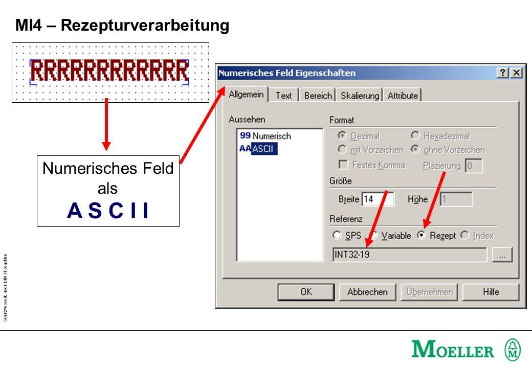 Schutzvermerk nach DIN 34 beachten MI4 – Rezepturverarbeitung Numerisches Feld als A S C I I
