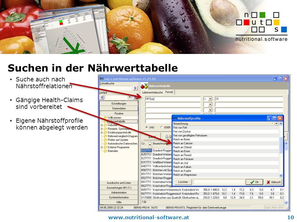 www.nutritional-software.at10 Suchen in der Nährwerttabelle Suche auch nach Nährstoffrelationen Gängige Health-Claims sind vorbereitet Eigene Nährstoffprofile können abgelegt werden