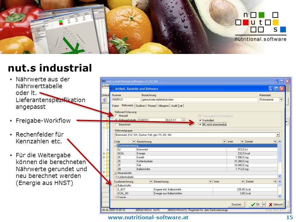 www.nutritional-software.at15 nut.s industrial Nährwerte aus der Nährwerttabelle oder lt.