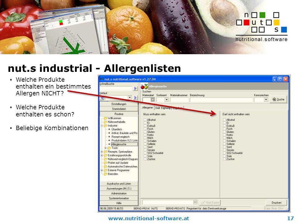 www.nutritional-software.at17 nut.s industrial - Allergenlisten Welche Produkte enthalten ein bestimmtes Allergen NICHT.