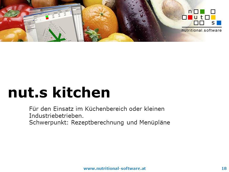 www.nutritional-software.at18 nut.s kitchen Für den Einsatz im Küchenbereich oder kleinen Industriebetrieben.