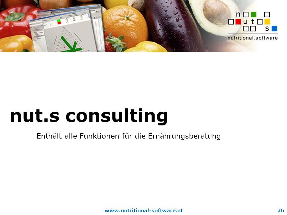 www.nutritional-software.at26 nut.s consulting Enthält alle Funktionen für die Ernährungsberatung
