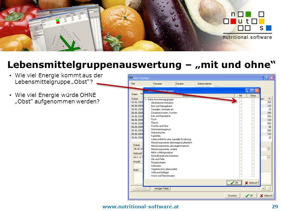 www.nutritional-software.at29 Lebensmittelgruppenauswertung – mit und ohne Wie viel Energie kommt aus der Lebensmittelgruppe Obst.