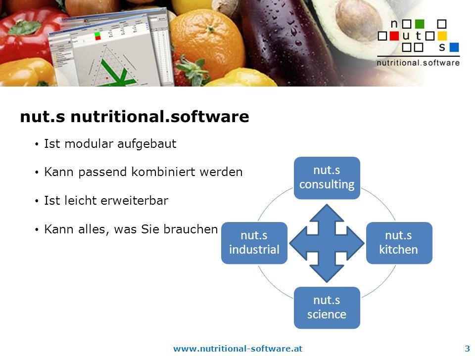 www.nutritional-software.at3 nut.s nutritional.software Ist modular aufgebaut Kann passend kombiniert werden Ist leicht erweiterbar Kann alles, was Sie brauchen