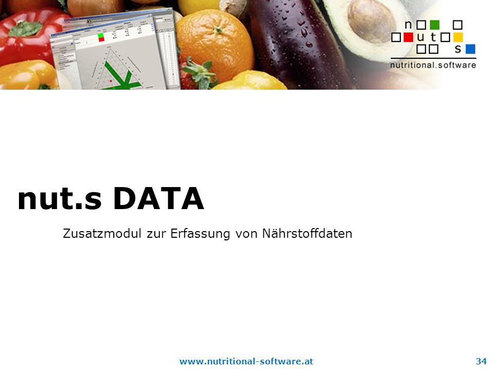 www.nutritional-software.at34 nut.s DATA Zusatzmodul zur Erfassung von Nährstoffdaten