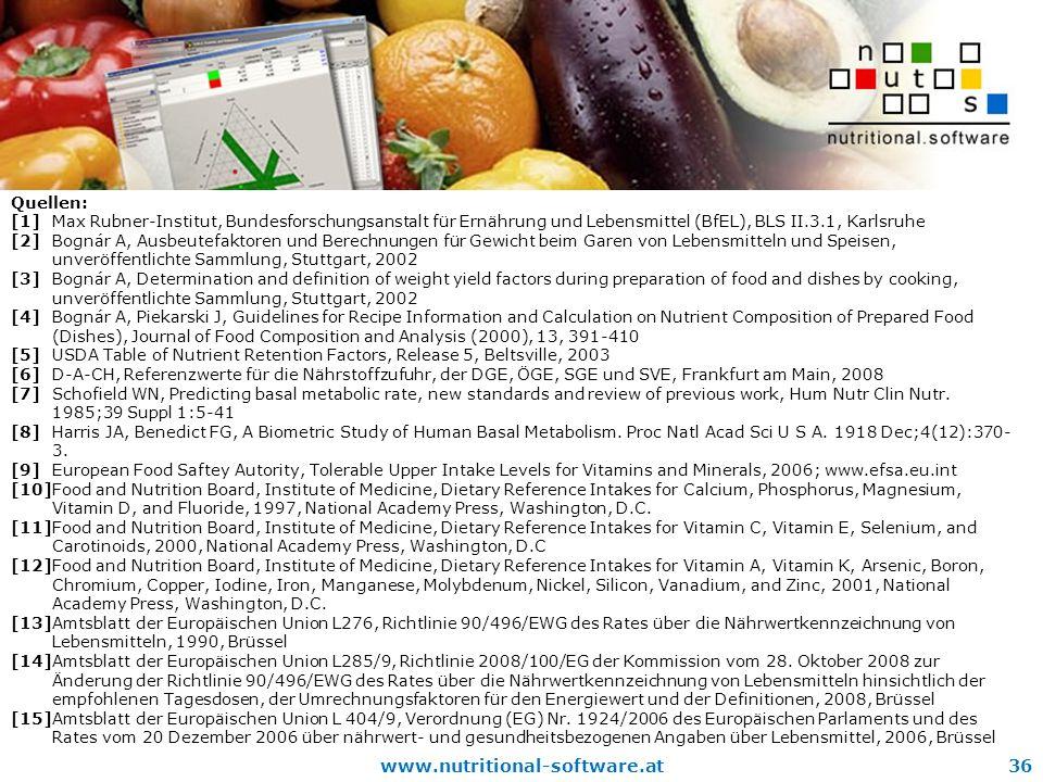 www.nutritional-software.at36 Quellen: [1]Max Rubner-Institut, Bundesforschungsanstalt für Ernährung und Lebensmittel (BfEL), BLS II.3.1, Karlsruhe [2] Bognár A, Ausbeutefaktoren und Berechnungen für Gewicht beim Garen von Lebensmitteln und Speisen, unveröffentlichte Sammlung, Stuttgart, 2002 [3]Bognár A, Determination and definition of weight yield factors during preparation of food and dishes by cooking, unveröffentlichte Sammlung, Stuttgart, 2002 [4]Bognár A, Piekarski J, Guidelines for Recipe Information and Calculation on Nutrient Composition of Prepared Food (Dishes), Journal of Food Composition and Analysis (2000), 13, 391-410 [5]USDA Table of Nutrient Retention Factors, Release 5, Beltsville, 2003 [6]D-A-CH, Referenzwerte für die Nährstoffzufuhr, der DGE, ÖGE, SGE und SVE, Frankfurt am Main, 2008 [7]Schofield WN, Predicting basal metabolic rate, new standards and review of previous work, Hum Nutr Clin Nutr.