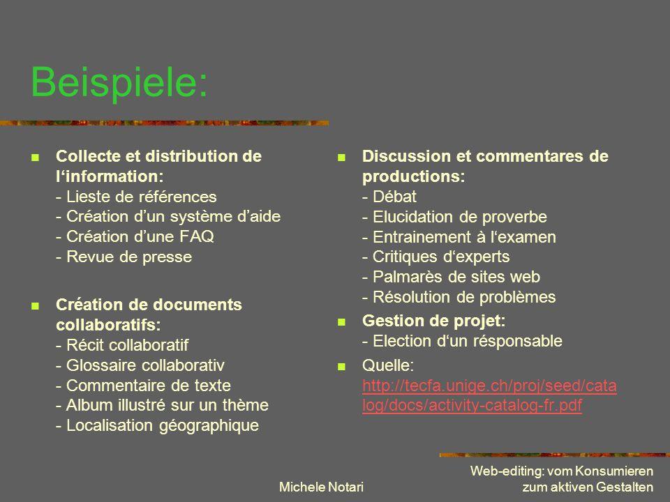 Michele Notari Web-editing: vom Konsumieren zum aktiven Gestalten Beispiele: Collecte et distribution de linformation: - Lieste de références - Créati