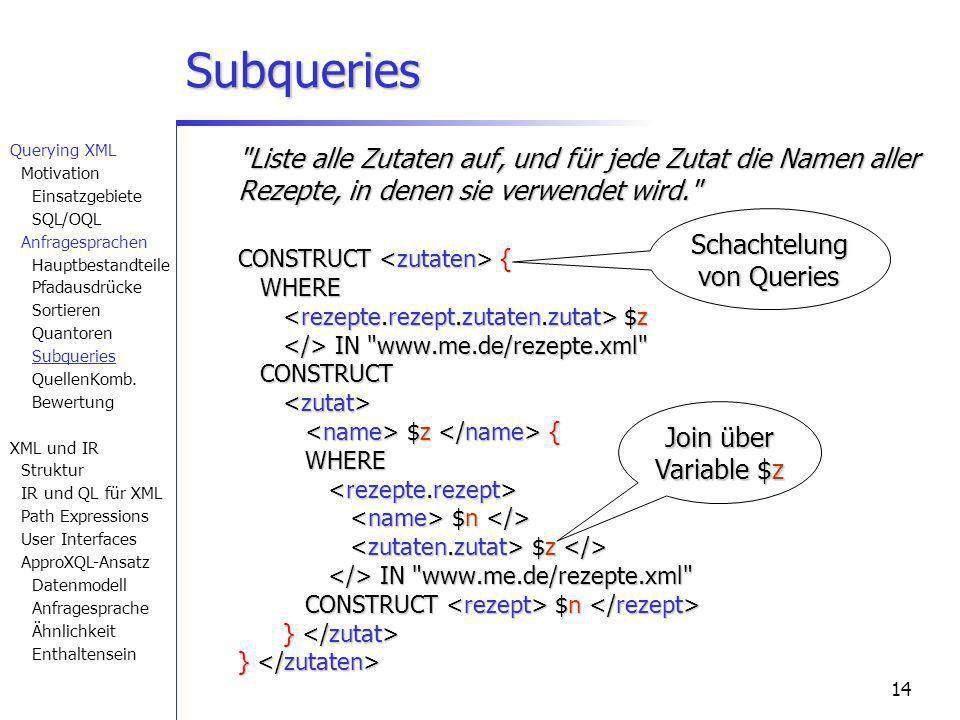14 Subqueries Liste alle Zutaten auf, und für jede Zutat die Namen aller Rezepte, in denen sie verwendet wird. CONSTRUCT { WHERE $z IN www.me.de/rezepte.xml CONSTRUCT $z { WHERE $n $z IN www.me.de/rezepte.xml CONSTRUCT $n } } CONSTRUCT { WHERE $z IN www.me.de/rezepte.xml CONSTRUCT $z { WHERE $n $z IN www.me.de/rezepte.xml CONSTRUCT $n } } Join über Variable $z Schachtelung von Queries Querying XML Motivation Einsatzgebiete SQL/OQL Anfragesprachen Hauptbestandteile Pfadausdrücke Sortieren Quantoren Subqueries QuellenKomb.