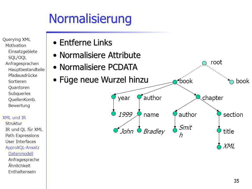 35 Normalisierung book chapter section title author nameauthor year 1999 XML Smit h BradleyJohn book root Füge neue Wurzel hinzu Füge neue Wurzel hinz
