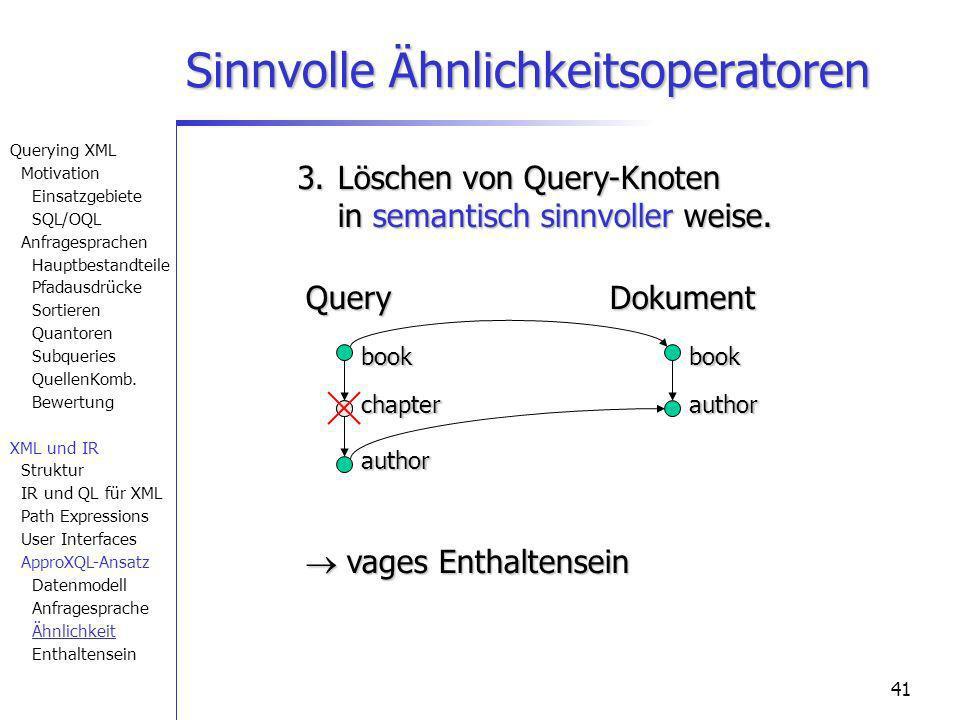41 Sinnvolle Ähnlichkeitsoperatoren book author book QueryDokument 3. Löschen von Query-Knoten in semantisch sinnvoller weise. vages Enthaltensein vag