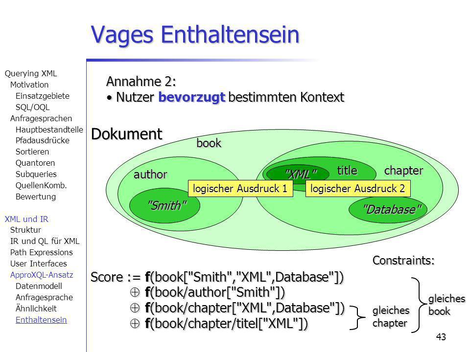 43 Vages Enthaltensein author Smith book chapter title XML Database Dokument Annahme 2: Nutzer bevorzugt bestimmten Kontext Nutzer bevorzugt bestimmten Kontext Score :=f(book[ Smith , XML ,Database ]) f(book/author[ Smith ]) f(book/author[ Smith ]) f(book/chapter[ XML ,Database ]) f(book/chapter[ XML ,Database ]) f(book/chapter/titel[ XML ]) f(book/chapter/titel[ XML ]) gleicheschapter gleichesbookConstraints: logischer Ausdruck 2 logischer Ausdruck 1 Querying XML Motivation Einsatzgebiete SQL/OQL Anfragesprachen Hauptbestandteile Pfadausdrücke Sortieren Quantoren Subqueries QuellenKomb.