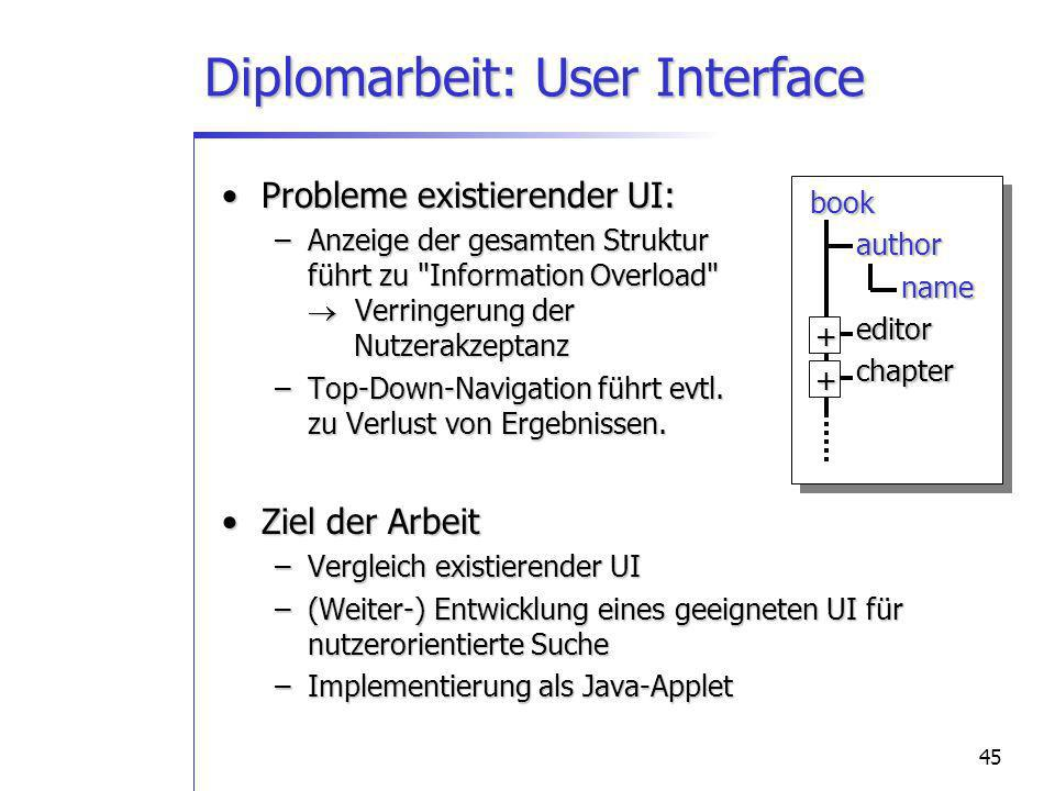 45book author author name name editor editor chapter chapter+ + Diplomarbeit: User Interface Probleme existierender UI:Probleme existierender UI: –Anzeige der gesamten Struktur führt zu Information Overload Verringerung der Nutzerakzeptanz –Top-Down-Navigation führt evtl.