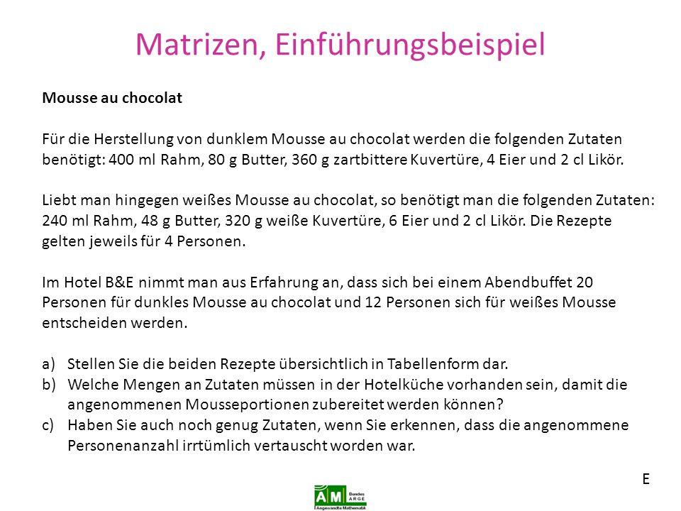 Matrizen, Einführungsbeispiel, TI 82 stats B Lösung a): Eingabe: Matrix [A) mit Matrix/ Edit/ 1 /6 enter 2 usw…..