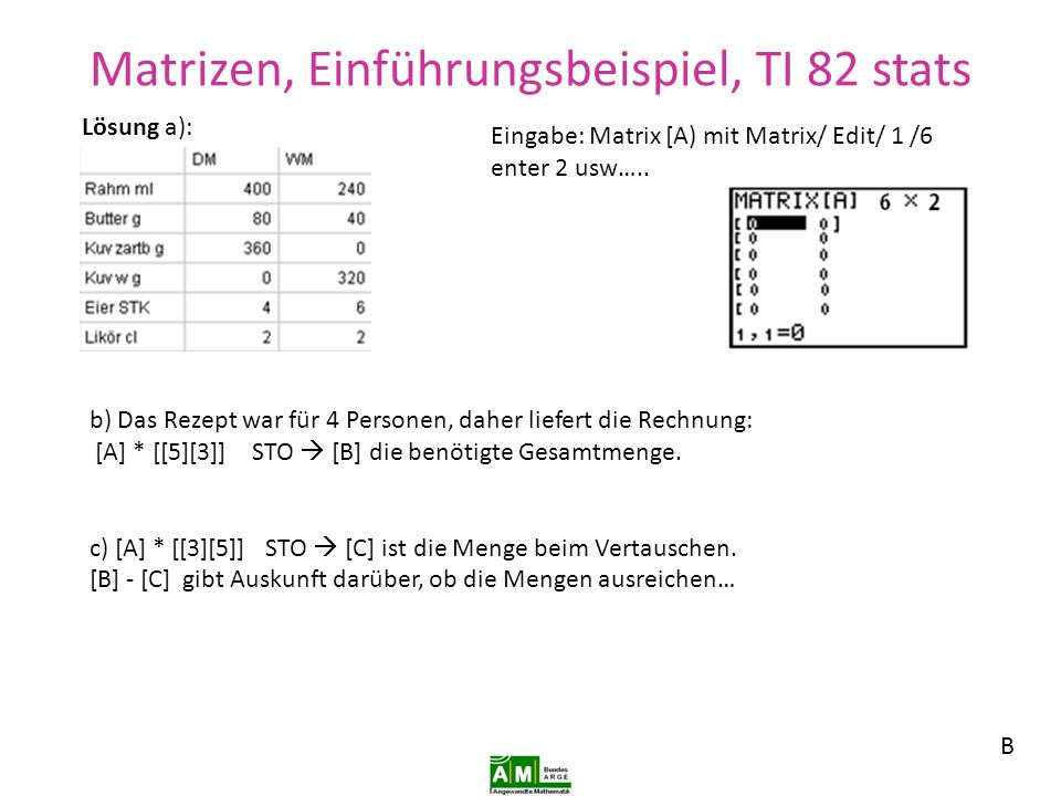 Matrizen, Einführungsbeispiel, Geogebra 4.2 E