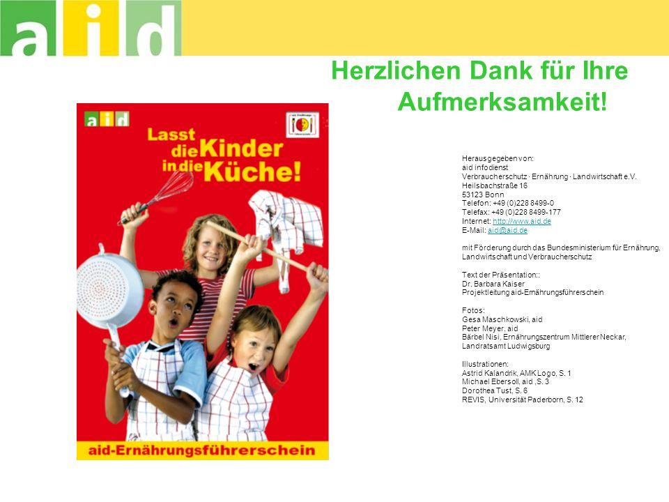 Herzlichen Dank für Ihre Aufmerksamkeit! Herausgegeben von: aid infodienst Verbraucherschutz · Ernährung · Landwirtschaft e.V. Heilsbachstraße 16 5312