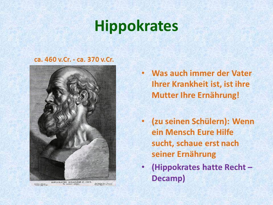 Hippokrates ca. 460 v.Cr. - ca. 370 v.Cr. Was auch immer der Vater Ihrer Krankheit ist, ist ihre Mutter Ihre Ernährung! (zu seinen Schülern): Wenn ein