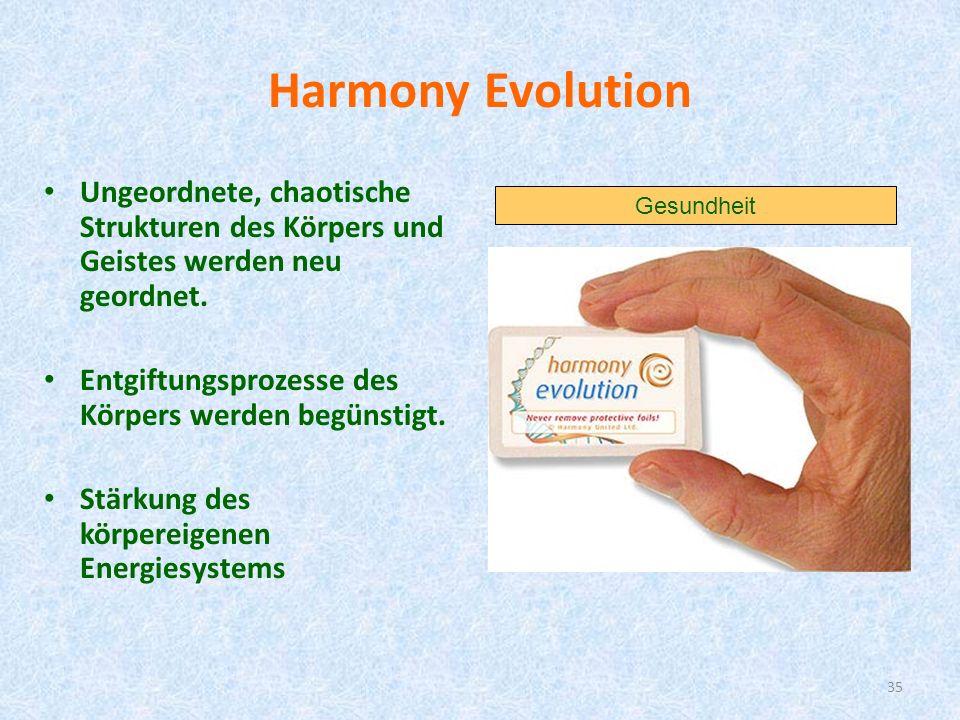 35 Harmony Evolution Ungeordnete, chaotische Strukturen des Körpers und Geistes werden neu geordnet. Entgiftungsprozesse des Körpers werden begünstigt