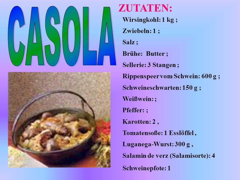 Wirsingkohl: 1 kg ; Zwiebeln: 1 ; Salz ; Brühe: Butter ; Sellerie: 3 Stangen ; Rippenspeer vom Schwein: 600 g ; Schweineschwarten: 150 g ; Weißwein: ;