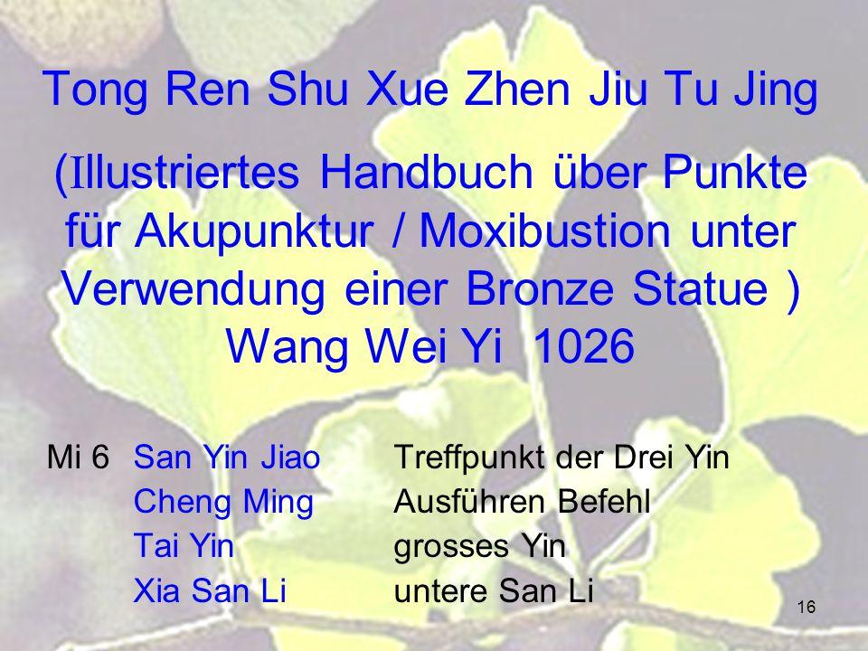 16 Tong Ren Shu Xue Zhen Jiu Tu Jing (Illustriertes Handbuch über Punkte für Akupunktur / Moxibustion unter Verwendung einer Bronze Statue ) Wang Wei Yi 1026 Mi 6San Yin JiaoTreffpunkt der Drei Yin Cheng MingAusführen Befehl Tai Yingrosses Yin Xia San Liuntere San Li