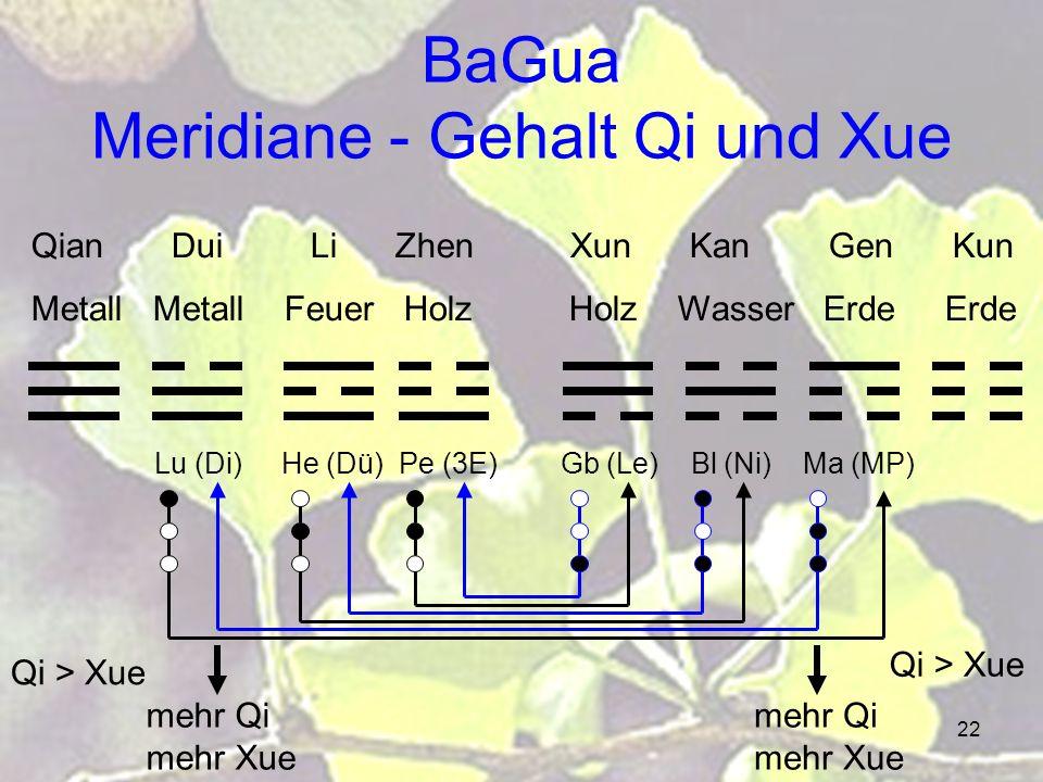 22 BaGua Meridiane - Gehalt Qi und Xue Qian Dui Li Zhen Xun Kan Gen Kun Metall Metall Feuer Holz Holz Wasser Erde Erde Lu (Di) He (Dü) Pe (3E) Gb (Le) Bl (Ni) Ma (MP) Qi > Xue mehr Qi mehr Xue