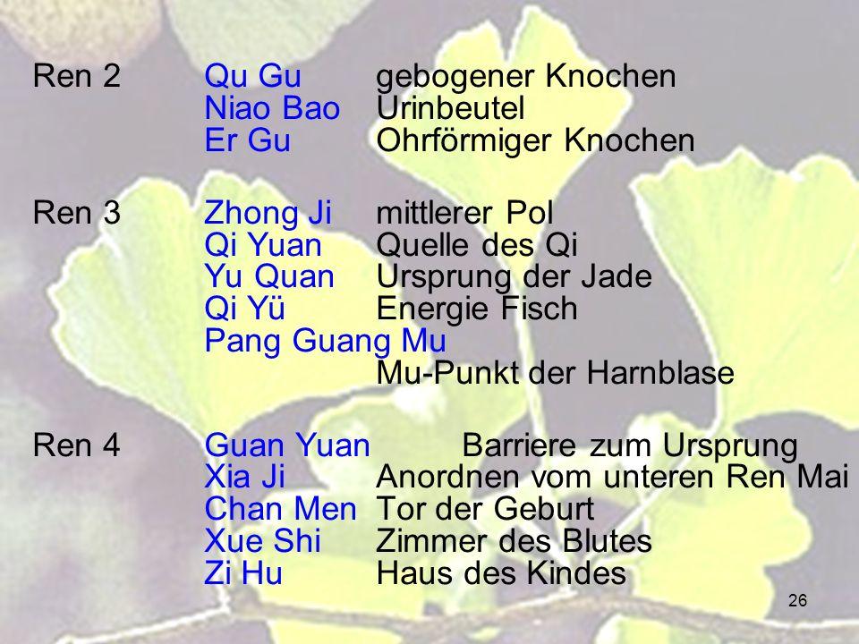 26 Ren 2Qu Gugebogener Knochen Niao BaoUrinbeutel Er GuOhrförmiger Knochen Ren 3Zhong Jimittlerer Pol Qi YuanQuelle des Qi Yu QuanUrsprung der Jade Qi YüEnergie Fisch Pang Guang Mu Mu-Punkt der Harnblase Ren 4Guan YuanBarriere zum Ursprung Xia JiAnordnen vom unteren Ren Mai Chan MenTor der Geburt Xue ShiZimmer des Blutes Zi HuHaus des Kindes