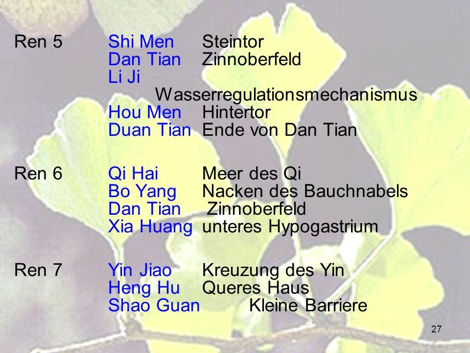 27 Ren 5Shi MenSteintor Dan TianZinnoberfeld Li Ji Wasserregulationsmechanismus Hou MenHintertor Duan TianEnde von Dan Tian Ren 6Qi HaiMeer des Qi Bo YangNacken des Bauchnabels Dan Tian Zinnoberfeld Xia Huangunteres Hypogastrium Ren 7Yin JiaoKreuzung des Yin Heng HuQueres Haus Shao GuanKleine Barriere