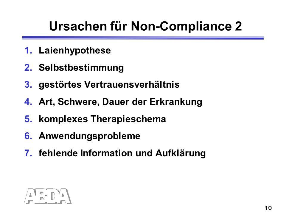 10 Ursachen für Non-Compliance 2 1.Laienhypothese 2.Selbstbestimmung 3.gestörtes Vertrauensverhältnis 4.Art, Schwere, Dauer der Erkrankung 5.komplexes Therapieschema 6.Anwendungsprobleme 7.fehlende Information und Aufklärung