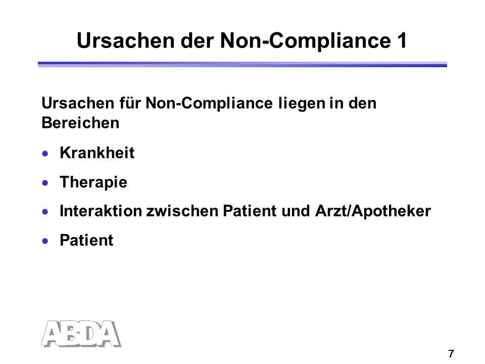 7 Ursachen der Non-Compliance 1 Krankheit Therapie Interaktion zwischen Patient und Arzt/Apotheker Patient Ursachen für Non-Compliance liegen in den Bereichen