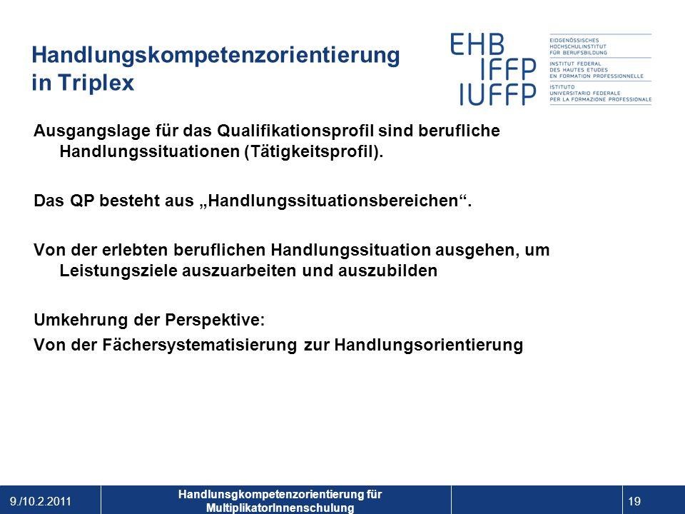 9./10.2.2011 19 1 Handlunsgkompetenzorientierung für MultiplikatorInnenschulung Handlungskompetenzorientierung in Triplex Ausgangslage für das Qualifi