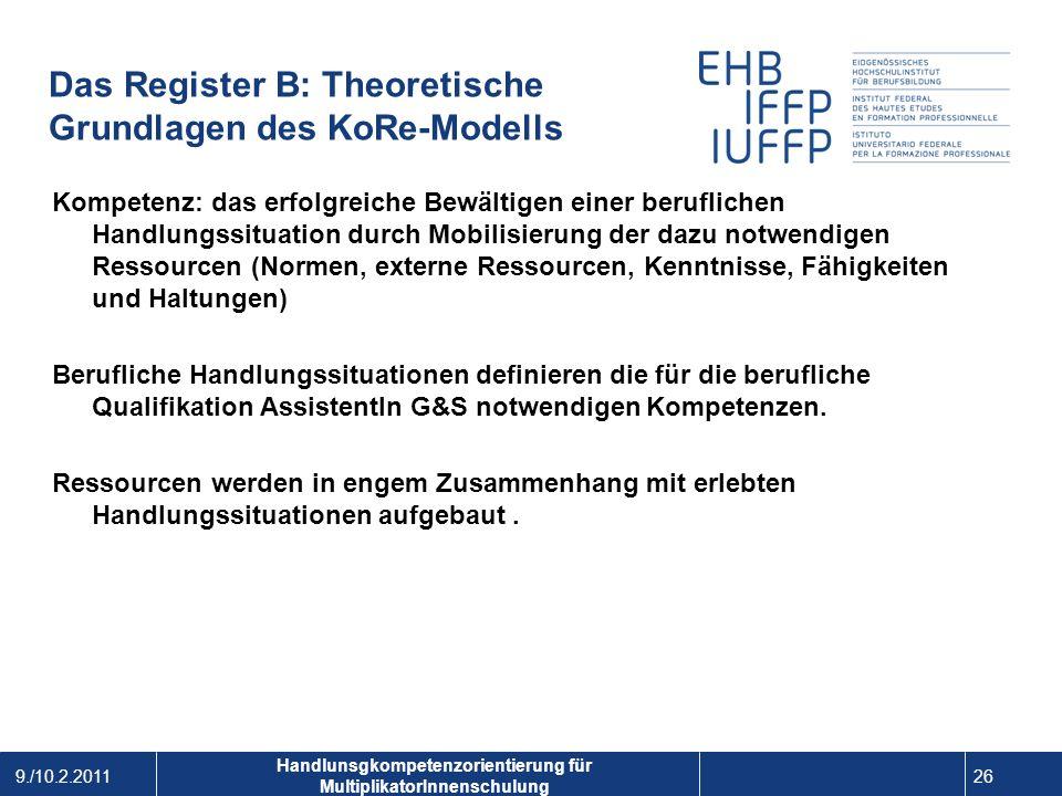 9./10.2.2011 26 1 Handlunsgkompetenzorientierung für MultiplikatorInnenschulung Das Register B: Theoretische Grundlagen des KoRe-Modells Kompetenz: da