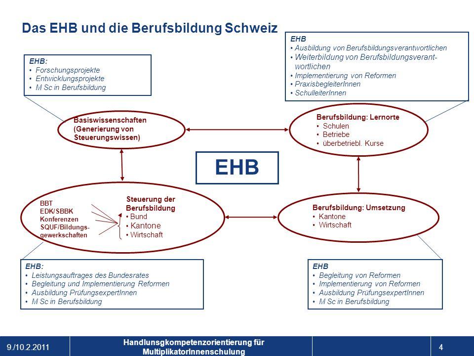 9./10.2.2011 4 1 Handlunsgkompetenzorientierung für MultiplikatorInnenschulung Das EHB und die Berufsbildung Schweiz EHB Berufsbildung: Lernorte Schul