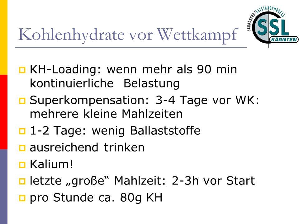 Kohlenhydrate vor Wettkampf KH-Loading: wenn mehr als 90 min kontinuierliche Belastung Superkompensation: 3-4 Tage vor WK: mehrere kleine Mahlzeiten 1