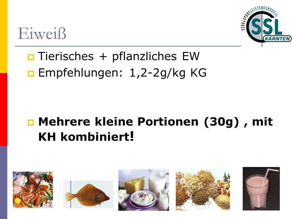 Eiweiß Tierisches + pflanzliches EW Empfehlungen: 1,2-2g/kg KG Mehrere kleine Portionen (30g), mit KH kombiniert !