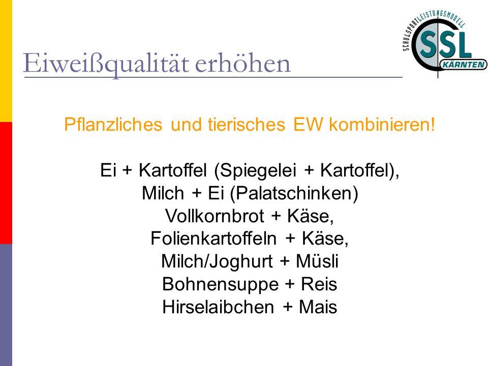 Eiweißqualität erhöhen Pflanzliches und tierisches EW kombinieren! Ei + Kartoffel (Spiegelei + Kartoffel), Milch + Ei (Palatschinken) Vollkornbrot + K