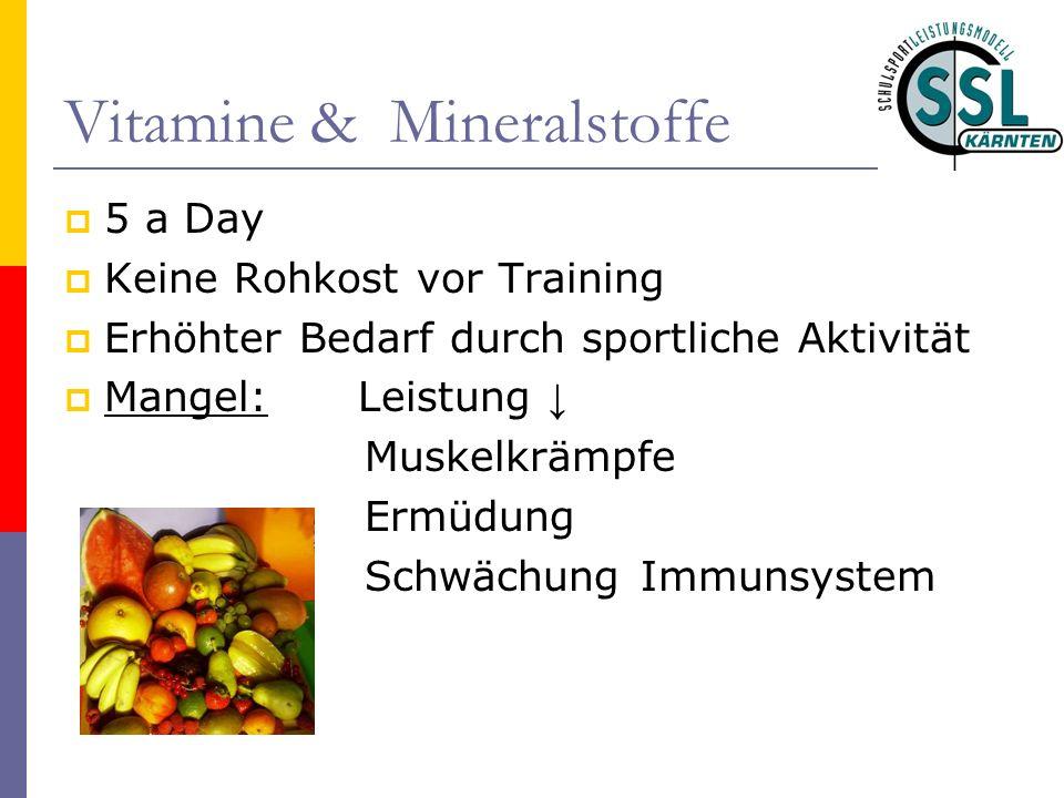 Vitamine & Mineralstoffe 5 a Day Keine Rohkost vor Training Erhöhter Bedarf durch sportliche Aktivität Mangel: Leistung Muskelkrämpfe Ermüdung Schwächung Immunsystem