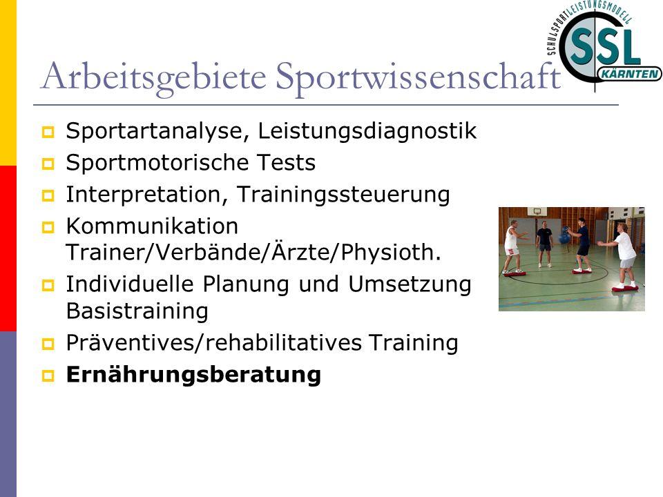 Arbeitsgebiete Sportwissenschaft Sportartanalyse, Leistungsdiagnostik Sportmotorische Tests Interpretation, Trainingssteuerung Kommunikation Trainer/Verbände/Ärzte/Physioth.