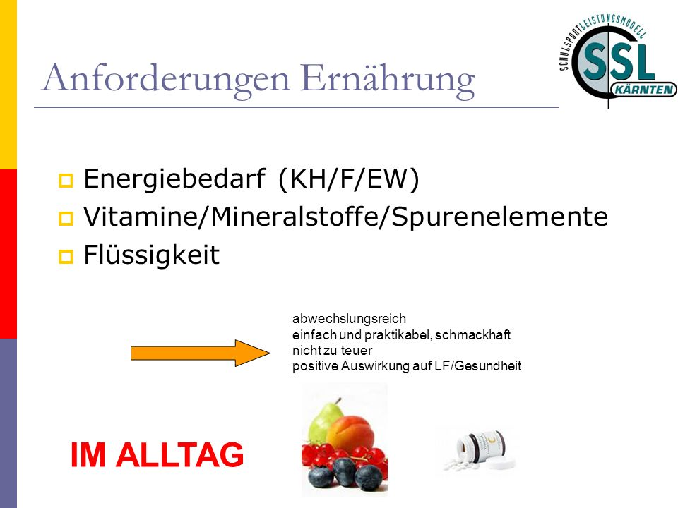Anforderungen Ernährung Energiebedarf (KH/F/EW) Vitamine/Mineralstoffe/Spurenelemente Flüssigkeit abwechslungsreich einfach und praktikabel, schmackhaft nicht zu teuer positive Auswirkung auf LF/Gesundheit IM ALLTAG