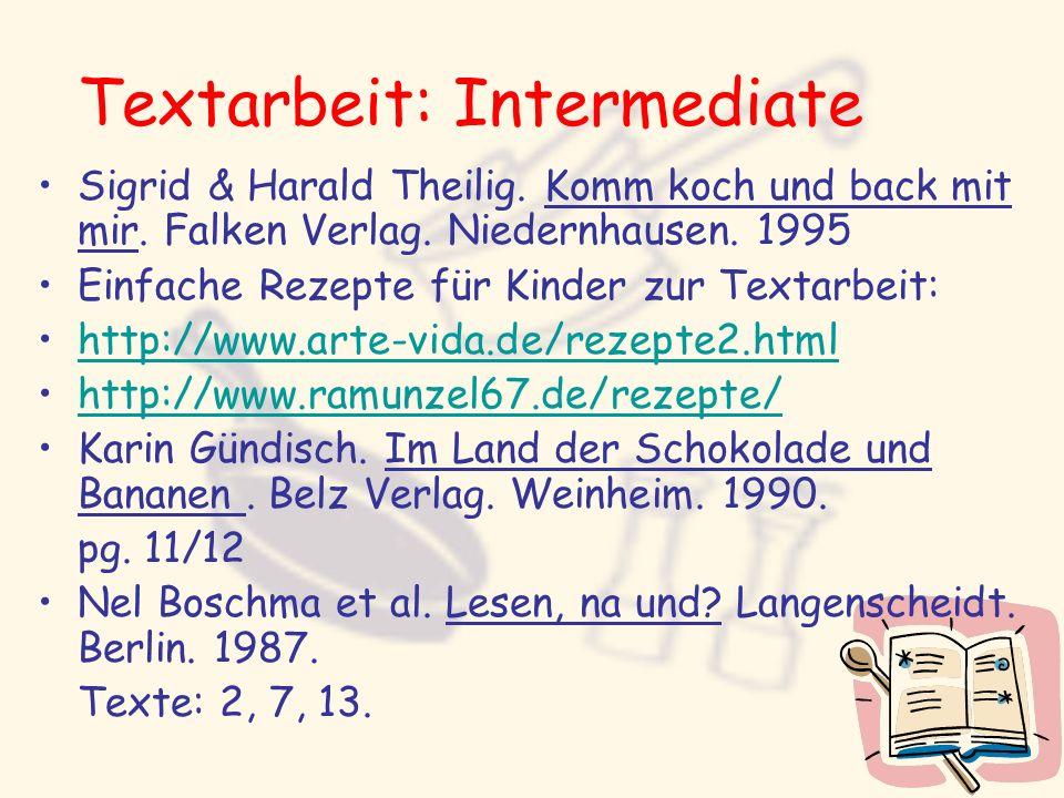 Textarbeit: Intermediate Sigrid & Harald Theilig. Komm koch und back mit mir. Falken Verlag. Niedernhausen. 1995 Einfache Rezepte für Kinder zur Texta