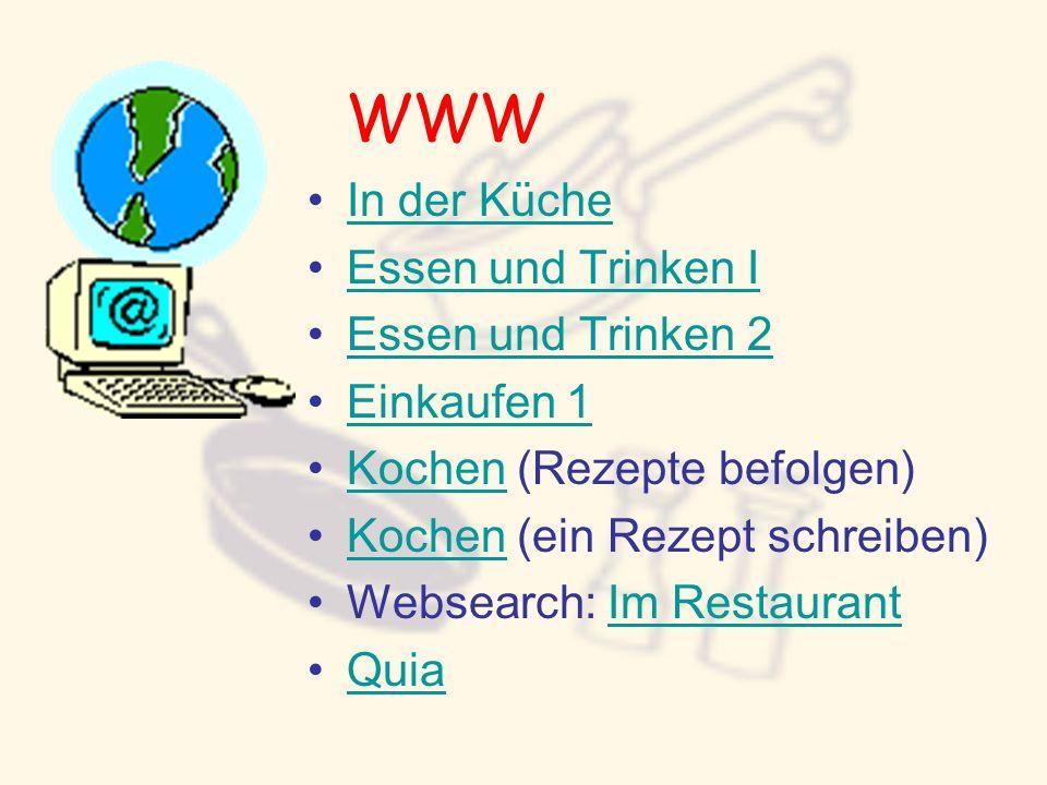 WWW In der Küche Essen und Trinken I Essen und Trinken 2 Einkaufen 1 Kochen (Rezepte befolgen)Kochen Kochen (ein Rezept schreiben)Kochen Websearch: Im