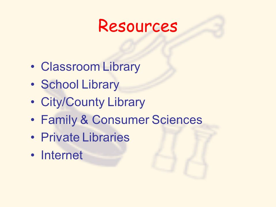 Resources Classroom Library School Library City/County Library Family & Consumer Sciences Private Libraries Internet