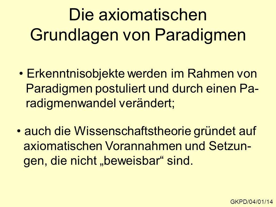 Die axiomatischen Grundlagen von Paradigmen GKPD/04/01/14 Erkenntnisobjekte werden im Rahmen von Paradigmen postuliert und durch einen Pa- radigmenwandel verändert; auch die Wissenschaftstheorie gründet auf axiomatischen Vorannahmen und Setzun- gen, die nicht beweisbar sind.