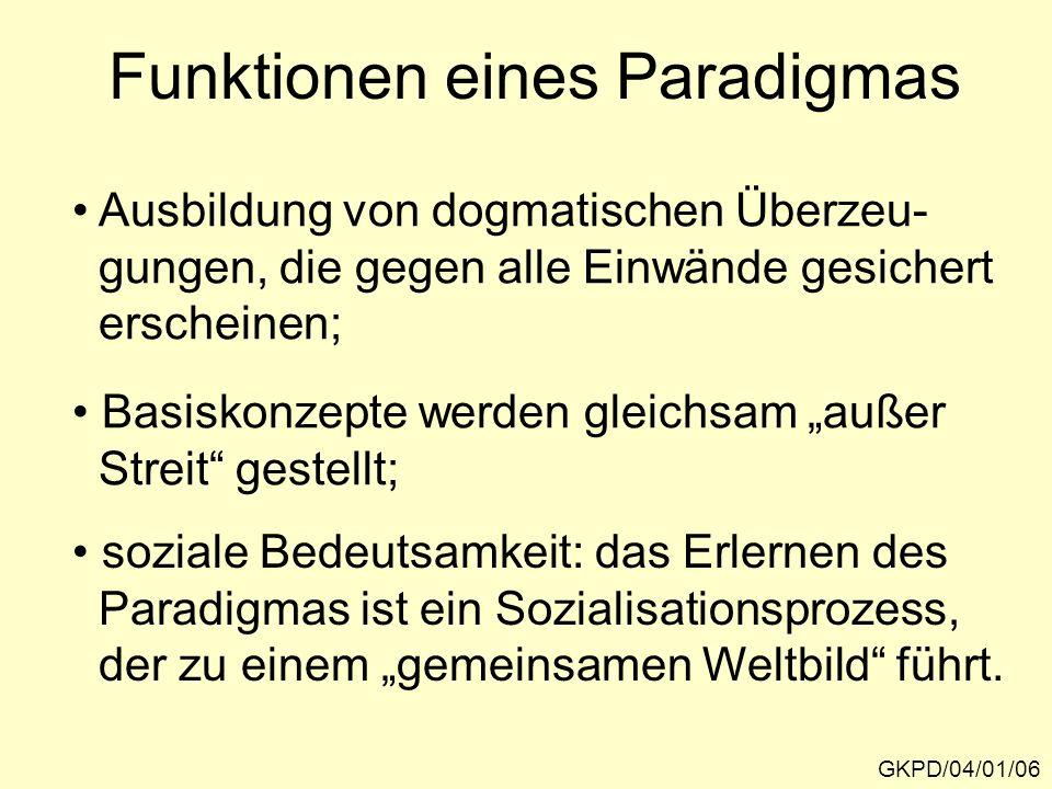 Funktionen eines Paradigmas GKPD/04/01/06 Ausbildung von dogmatischen Überzeu- gungen, die gegen alle Einwände gesichert erscheinen; Basiskonzepte werden gleichsam außer Streit gestellt; soziale Bedeutsamkeit: das Erlernen des Paradigmas ist ein Sozialisationsprozess, der zu einem gemeinsamen Weltbild führt.