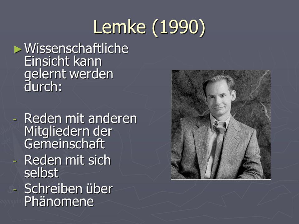 Lemke (1990) Wissenschaftliche Einsicht kann gelernt werden durch: Wissenschaftliche Einsicht kann gelernt werden durch: - Reden mit anderen Mitgliede