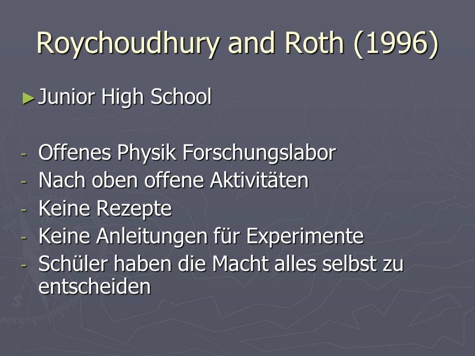 Roychoudhury and Roth (1996) Junior High School Junior High School - Offenes Physik Forschungslabor - Nach oben offene Aktivitäten - Keine Rezepte - K