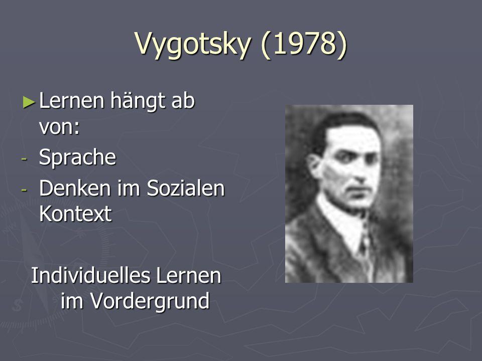 Vygotsky (1978) Lernen hängt ab von: Lernen hängt ab von: - Sprache - Denken im Sozialen Kontext Individuelles Lernen im Vordergrund