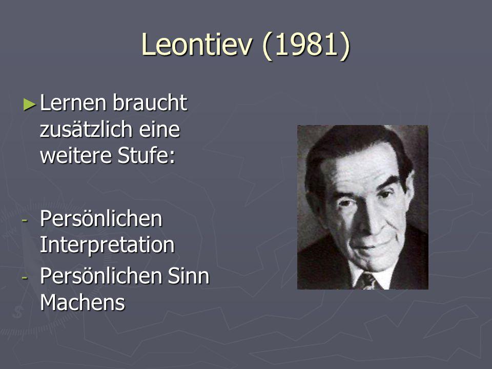 Leontiev (1981) Lernen braucht zusätzlich eine weitere Stufe: Lernen braucht zusätzlich eine weitere Stufe: - Persönlichen Interpretation - Persönlich