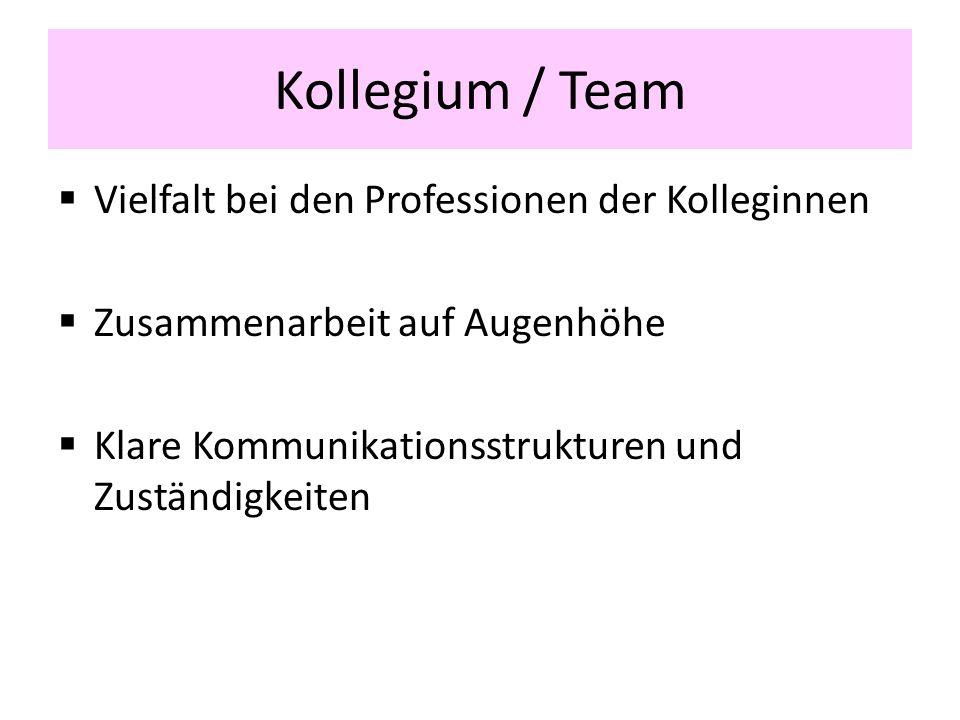 Kollegium / Team Vielfalt bei den Professionen der Kolleginnen Zusammenarbeit auf Augenhöhe Klare Kommunikationsstrukturen und Zuständigkeiten