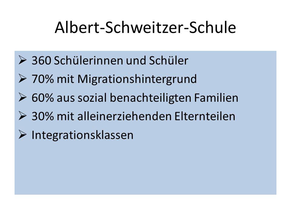Albert-Schweitzer-Schule 360 Schülerinnen und Schüler 70% mit Migrationshintergrund 60% aus sozial benachteiligten Familien 30% mit alleinerziehenden Elternteilen Integrationsklassen
