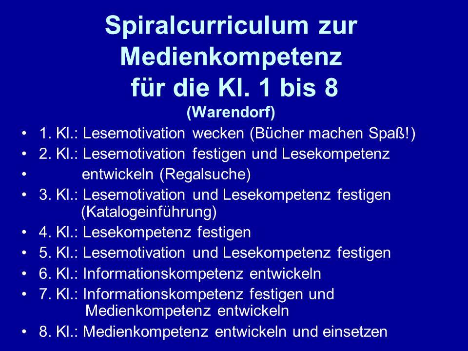Spiralcurriculum zur Medienkompetenz für die Kl. 1 bis 8 (Warendorf) 1. Kl.: Lesemotivation wecken (Bücher machen Spaß!) 2. Kl.: Lesemotivation festig