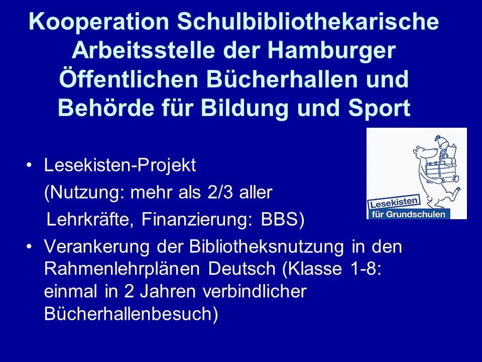 Kooperation Schulbibliothekarische Arbeitsstelle der Hamburger Öffentlichen Bücherhallen und Behörde für Bildung und Sport Lesekisten-Projekt (Nutzung